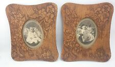 Poker Etched Frames Antique Wood Burn Baby Picture Floral Pair Hand Made Art