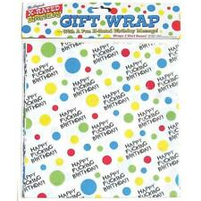 Happy Fucking Birthday Gift Wrap Funny Adult X Rated Party Wrapping Paper