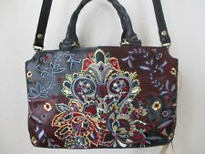 $199 Patricia Nash Angelin Red/Blue Embroidered Leather Satchel Handbag - Nwt