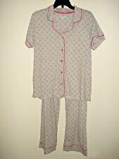 Ladies  2 Piece Pajama Set Gray/ Pink  Polka Dot  Size  Large