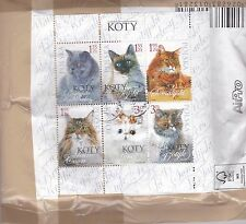 POLAND 2010 MINI SHEET CATS ON COVER