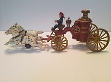 Vintage HUBLEY? - Cast Iron - Horse Drawn Fire Engine Pumper with Driver