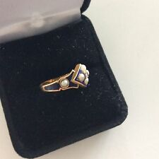 18k Gold Birmingham Fully Hallmarked Enamel Pearls Diamond Mourning Ring 6 1/2
