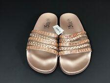 8703de69de56 Rouge Helium Womens Footbed Sandals Size 5 Rose Gold Rhinestone Open Toe  Slip On