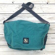 Vtg Eddie Bauer Green Nylon Crossbody Messenger Travel Laptop Weekender Bag