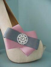 2 Rosa e Grigio con Fiocco Clip Per Scarpe con lo stile di Diamante Centro