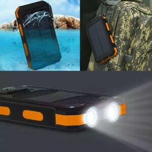 2021 Waterproof Solar Power Bank 900000mAh Portable External Battery Charger US
