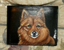 Finnish Spitz Dog Hand Painted Leather Wallet for Men