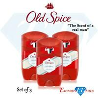 Old Spice Original Deodorant Stick Fresh Mens Odour Free Roll On 50ml x 3