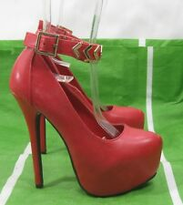 "ladies new Red 6""Stiletto High Heel  2""Platform ankle strap Sexy Shoes Size 5.5"