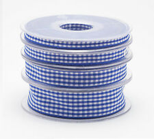 Full Reel Quality Gingham Ribbon 6mm 10mm 15mm 25mm x 20meter Choice of Colours