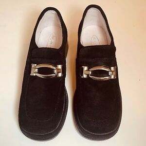 Shoe Be Doo Girls Sz 13 / 31 Italy Italian black suede leather loafer w / silver