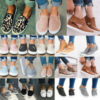 Women Casual Canvas Shoes Plimsolls Flats Slip On Loafers Pumps Comfy Sneakers