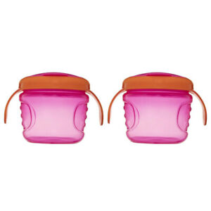 2x Heinz Baby Basics Non Spill Baby Snack Feeding Pot Container Food Cup Pink/OR