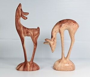 Pottery Deer Set of 2 Pine Scented Figurines Stamped Yellowstone Swirl Pattern