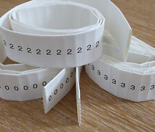 Cable Markers, heat shrink, LARGE SIZE - 10 STRIPS of 5, 0 to 9   HSMLrollmix50