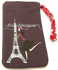 French Chic Girl EIFFEL TOWER Phone/iPhone Purple CASE Wallet New from PARIS