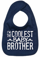 "Little Brother Bib ""I'm the Coolest Baby Brother"" Baby Feeding Time Newborn Gift"