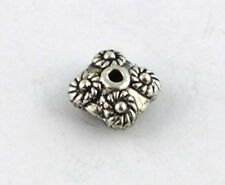 50 Tibetan silver flower square spacer beads T8792 FREE SHIP