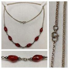 cadena larga 835 plata con piedras de color Collar de Plata Joyería Plata