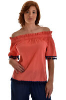 Azucar Ladies Lightweight Cotton Off the Shoulder 3/4 Sleeve Top Blouse - LCB842