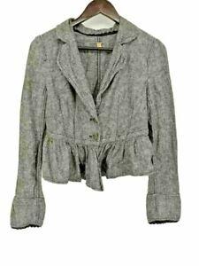 Free People Womens Suit Jacket Blazer Gray Ruffle Long Sleeve Notch Lapel L