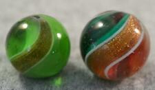 """2 GERMAN LUTZ MARBLES Polished Banded Green Glass 23/32"""" & Buffed Ribbon 25/32"""""""