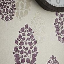 Superfresco Lucy Tree Motif Metallic Glitter Plum Purple Wallpaper