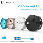 Retractable Cable 2 in 1 Micro USB Data Sync for iPhone X 8 Samsung LG Huawei