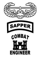 SAPPER, Combat Engineer & Air Assault Vinyl Window Sticker Decals 3x Pieces