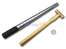 Combo Solid Steel Ring Band Mandrel Stick & Dual Brass Flat Head Hammer