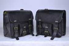 Motorcycle Side Saddlebags Black Leather 1Pair side Pouch Saddle Panniers 2Bags