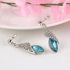 New Fashion Dangle Hook Silver Plated Crystal Rhinestone Women Ear Stud Earrings