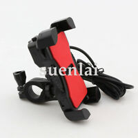 US Stock Motorcycle Bike Cell Phone GPS Handlebar Mount Holder Dual USB Charger