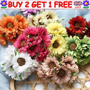 6heads Artificial Silk Gerbera Daisy Faux Flowers Bunch Party Garden Home Decor^