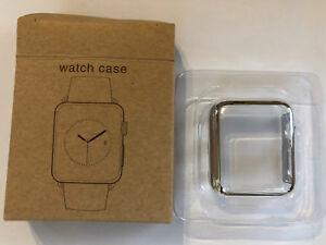 Panzerschutz Display Schutz Glas Apple Watch Series 3 Cover für 38 mm silber