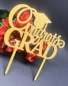 New Congrats Grad Graduation Cake Topper Glitter Gold Party Decoration 2021