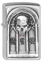 ZIPPO Feuerzeug REST IN PEACE m. Emblem 3D Brushed Chrome RIP Totenkopf NEU OVP