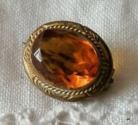Antique Petite Edwardian Citrine Glass Amber Paste Gold Tone Old Lace Pin Brooch