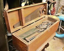 "Large 33"" Long Antique Wooden Carpenters Tool Box"