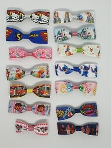 """Handmade single ribbon 3"""" hairclip bows with barrette clips (assorted)"""