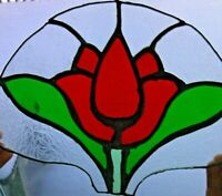 Vintage Stained Glass Panel Floral Design Etched Red Flower Green Leaves Art Old
