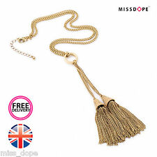 NEW GOLD TASSEL LONG CHAIN STATEMENT NECKLACE PENDANT BODY WOMENS FESTIVAL GYPSY
