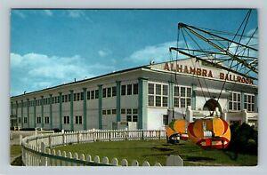 Riverside RI, Alhambra Ballroom, Crescent Park, Chrome Rhode Island Postcard W2
