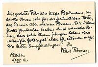 KARL ROSNER - orig. Autogramm - Berlin, 1912 - autograph, signed