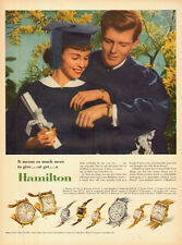 1954 vintage AD, HAMILTON WATCHES Graduation Gifts 8 styles Cap and Gown 102614