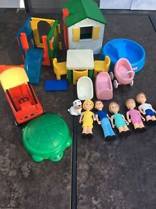 Vintage Little Tikes Family Dog Baby Cradle Playground Pool Car Accessories Lot