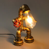 Industrial Iron Pipe Steampunk Table Lamp Vintage Robot Desk Light with Valve