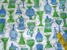 Vtg Silk 50s 60s 1950 1960 Fabric Bottle Cups Print Blue Green White 1 2/3y