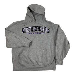 VTG Northwestern University Varsity Embroidered Hoodie Sweater Gray College L